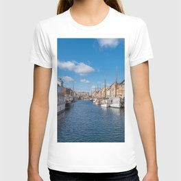 Nyhavn Canal under a blue sky with some clouds T-shirt