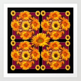 Sunflowers Burgundy Pattern Black Art Art Print