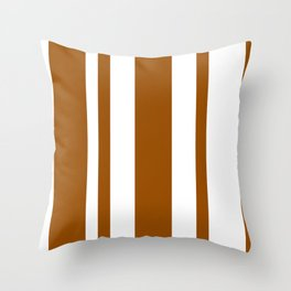 Mixed Vertical Stripes - White and Brown Throw Pillow