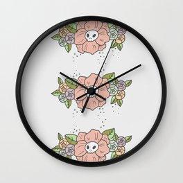 Skull Flower Wall Clock
