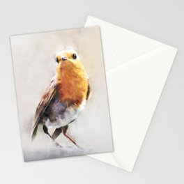 European Robin Orange Brown Bird Wildlife Animal Watercolor Artistic Painting Stationery Cards