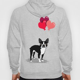Boston Terrier Valentine heart balloons for pet owners and dog lovers gift for someone they love Hoody