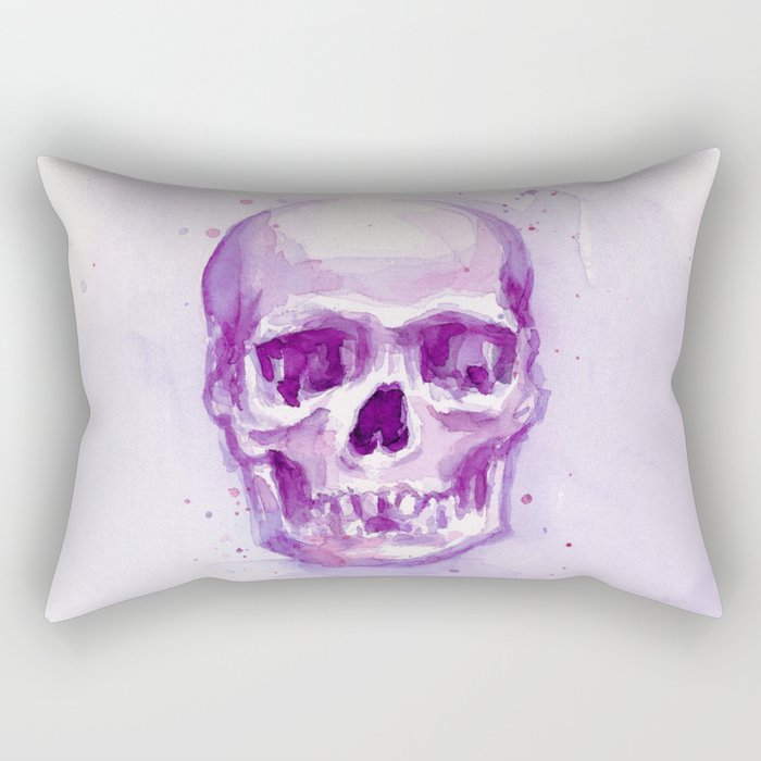 Pink Skull Watercolor Purple Abstract Rectangular Pillow