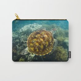 Turtle swimming over reef Carry-All Pouch