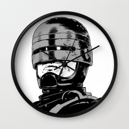 Robocop (b/w) Wall Clock