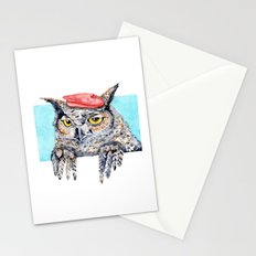 Serious Horned Owl in Red Beret  Stationery Cards