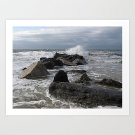 Rocks and waves Art Print