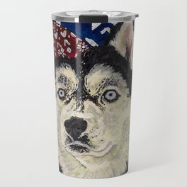 Husky in a Hat and Scarf Travel Mug