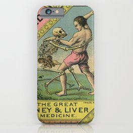 Vintage 1900 Hunt's Snake Oil Skeleton Advertisement Poster, Cures Dropsy and All Diseases! iPhone Case