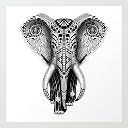 White Elefunk Art Print