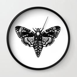 Moth linocut black and white minimal modern art print square moths nature Wall Clock