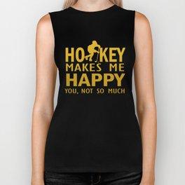 Hockey makes me happy Biker Tank