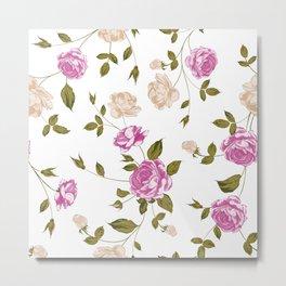 Seamless texture of pastel roses Metal Print