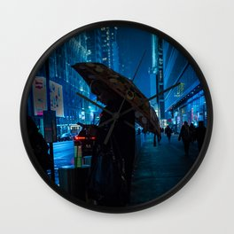 Girl with an Umbrella Waiting on the Road at Night Wall Clock