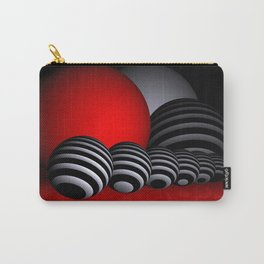 round and red and white and black Carry-All Pouch