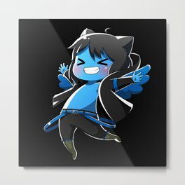 Chibi Luc (Expression 2) w/ Black Background Metal Print