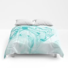 Aimi - spilled ink abstract water wave tropical vacation india ink aqua gender neutral painting boho Comforters