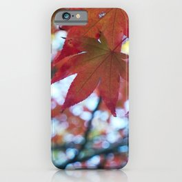 red maple leaves and bokeh iPhone Case
