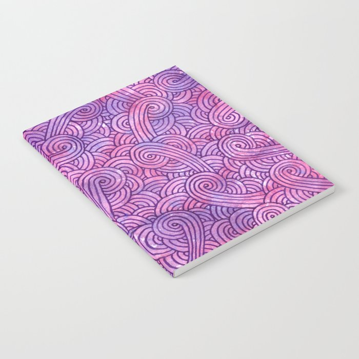 Hot pink and purple swirls doodles Notebook