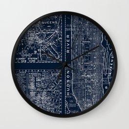 Vintage New York City Street Map Wall Clock