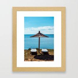 Beach umbrella at the sea in Premantura Framed Art Print
