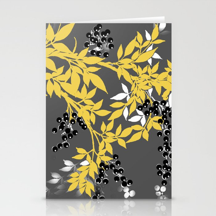 TREE BRANCHES YELLOW GRAY  AND BLACK LEAVES AND BERRIES Stationery Cards
