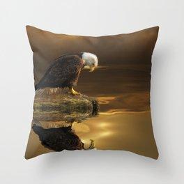 Gratitude - Bald Eagle At Prayer Throw Pillow
