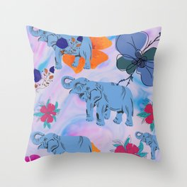 Floral Elephants Throw Pillow