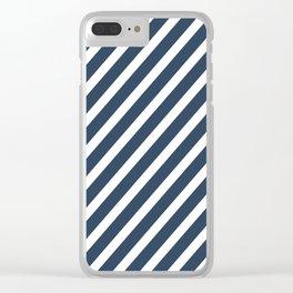 Navy Blue Diagonal Stripes Clear iPhone Case