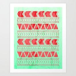 Watermelon Geometric Pattern Art Print