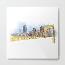Pittsburgh Sister Bridge Metal Print