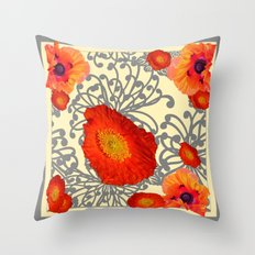 Decorative Grey-Creamy Orange Poppies Art Design Throw Pillow