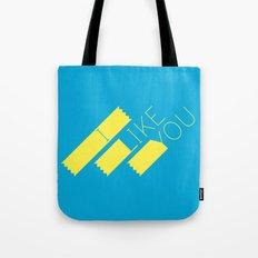 I Like You Graphik: Yellow Type Tote Bag