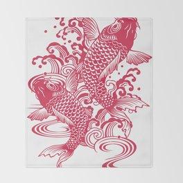 Red Koi Throw Blanket