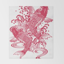 Red Koi Throw Blanket