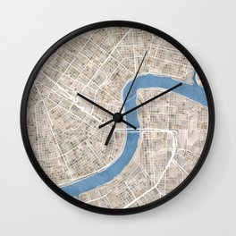 New Orleans Cobblestone Watercolor Map Wall Clock