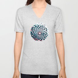 pine cone pattern in coral, aqua and indigo Unisex V-Neck