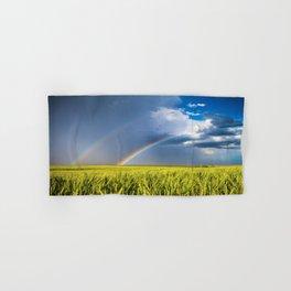 Daydream - Double Rainbow Above Kansas Wheat Field Hand & Bath Towel