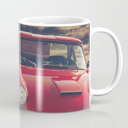 Triumph spitfire, english car by the beach in italy, old car and a boat, for man cave decor Coffee Mug