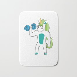 Unicorn Weights before Dates Weightlifting Bath Mat