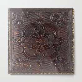 Ancient Leather Book Metal Print