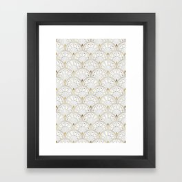marble and gold art deco scales pattern Framed Art Print