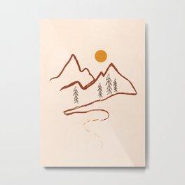 Mountain Minimal Metal Print