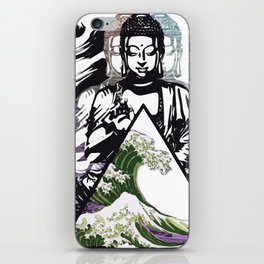 Buddha Wave Green Typhoon iPhone Skin