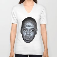 jay z V-neck T-shirts featuring JAY-Z by Jahwan by JAHWAN