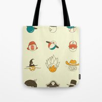 weird Tote Bags featuring Weird balls with weird hats by AGRIMONY // Aaron Thong
