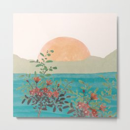 Setting Sun over the Sea 3 Metal Print
