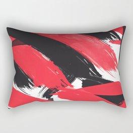 Modern Abstract Black Red Brush Strokes Pattern Rectangular Pillow