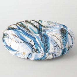 leaves in blue Floor Pillow