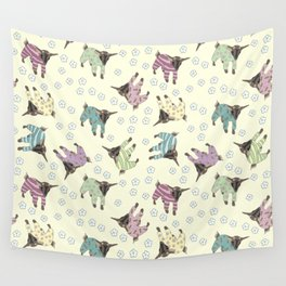 Pajama'd Baby Goats - Yellow Wall Tapestry